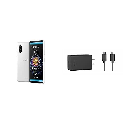 Sony Xperia 10 III Smartphone (15,2 cm 21:9 Wide Full HD+ OLED Display, Triple-Kamera System, Android 11 SIM Free, 6 GB RAM, 128 GB Speicher) + 30W-Schnellladegerät XQZ-UC1