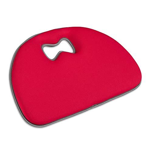 Relaxdays Kniekussen Tuin Werk, kniehulp, zacht kussen, universeel, handvat, zachte kniemat, polyester, rood