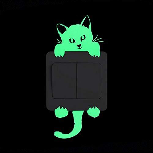 Hwjmy Divertido gato perro interruptor pegatinas brillan en la oscuridad Mural de pared arte habitación de niños decoración del hogar hadas estrella luna luminosa vinilo vinilo (color: 9001)