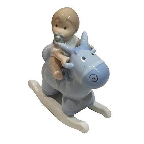 ILARY QUEEN Bomboniera Statuina Bimbo con Cavallo a Dondolo in Porcellana IQ3235