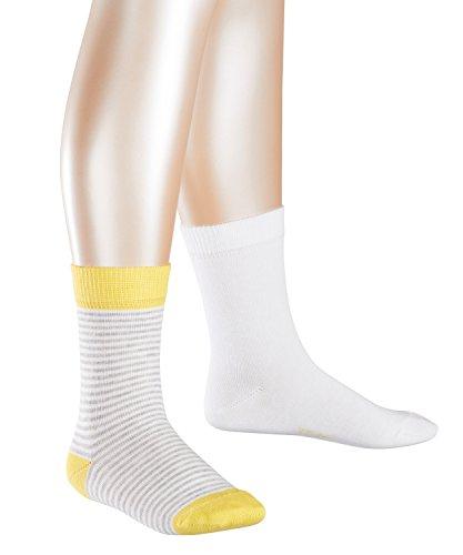 ESPRIT KIDS Mädchen Ringlet Doppelpack Socken, Mehrfarbig (White 2000), 31-34 (2er Pack)