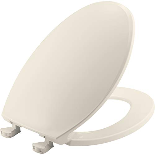 BEMIS 1800EC 346 Plastic Toilet Seat with Easy Clean & Change Hinges, ELONGATED, Biscuit/Linen