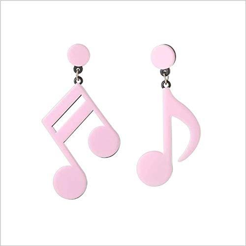 LKITYGF Maravilloso Pendiente de fantasía Joyas Música Nota Pendientes Niñas Pendientes Asimétricos Metal Belleza Deluxe Regalo Spree Simple Elegante Classy Fashion (Color : Pink)