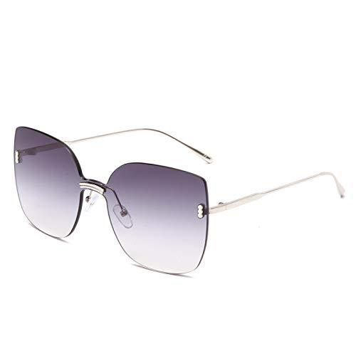 Astemdhj Gafas de Sol Sunglasses Gafas De Sol Cuadradas Grandes para Mujer Sombras Vintage Gafas De Sol De Gran Tamaño Sin Montura Gafas De Sol Púrpuras con Degradado De Ojo De GaAnti-UV