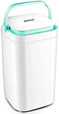 QUZHCP Portable Washing Machine, Electric Mini Portable Compact 4.5kg Capacity 2kg Drying Capacity Washer Washing Machine Spin Dryer Laundry (Black, Green, Pink) (Color : Green)