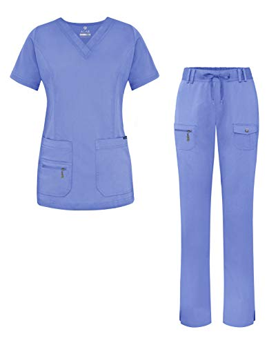 Adar Uniforms Women's Scrub Set - Enhanced V-Neck Top/Multi Pocket Pants - 4400 - Ceil Blue - 2X