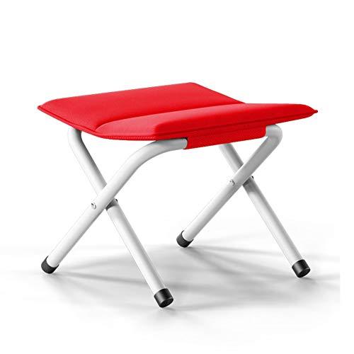 Lovehouse Mini Portable Faltstuhl klappstuhl, Leicht Campingstuhl hocker,Dicke Angelstuhl,Kleine Fußbank Für unterwegs,Ändern Schuh hocker-rot