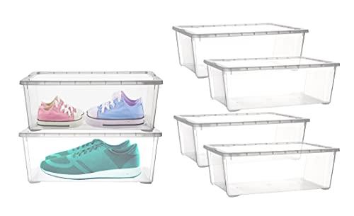BigDean 6er Set Aufbewahrungsbox mit Deckel - transparente Box aus PP-Kunststoff - 33x20x11 cm - stapelbare Klarsichtbox - 5 Liter - durchsichtige Ordnungsbox