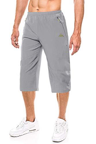 EKLENTSON Herren Dreiviertellänge Trainingshose Jogginghose Capri Sommer Quick Dry, Hellgrau