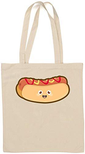 Kawaii Hot Dog Cute Cartoon Food Sac fourre-Tout en Coton Naturel