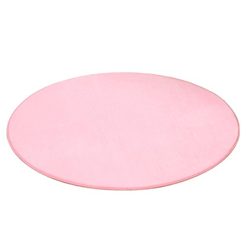 Dreamworldeu Kinderteppich Spielteppich Kinderzimmer Babyteppich Weich Rund in Rosa Größe 100cm für Spielzelt