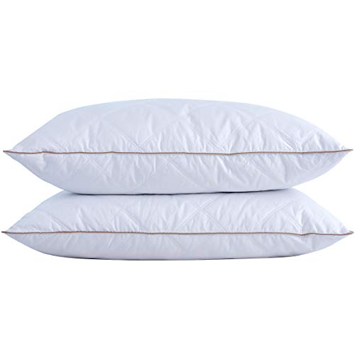 puredown Natural Goose Down Feather Pillows for Sleeping with 100% Cotton Pillow Downproof Cover White Set of 2 King Size