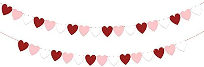 KatchOn Felt Heart Garland Banner Decorations – Pack of 33, No DIY | White, Pink and Red Paper Felt Garland | Great for Valentines Day Décor Supplies, Anniversary Backdrop and Wedding