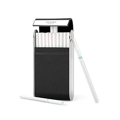 BXU-BG Cuero auténtico acero inoxidable largo damas sección delgada caso de cigarrillos, 20 Sticks personalizada ultrafina hombres de Flip Personalidad portátil moda de cuero del caso, cálido y rolliz
