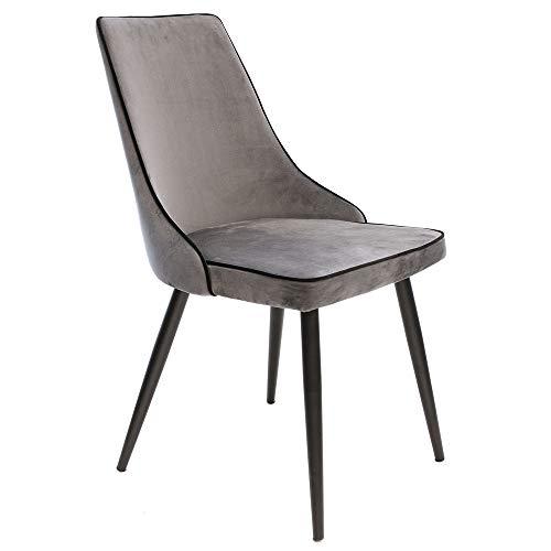 The Home Deco Factory HD6351 stoelen, velours, grijs, stof, 46 x 86 x 59 cm, 2 stuks