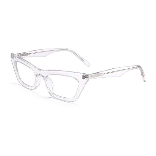 JIM HALO Kleine Katzenauge Computerbrille Frauen Schmales Quadrat Cateye Blaulicht Blcoking Brille Klar