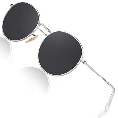 CGID Kleine Retro Vintage Sonnenbrille, inspiriert von John Lennon, polarisiert mit rundem Metallrahmen, für Frauen und Männer Silber Grau E47
