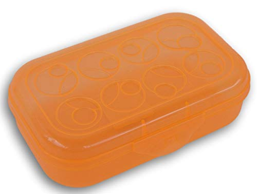 Pencil Case Box with Circle Patterned Lid (Orange)