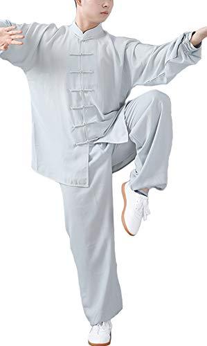 FUYUFU Algodón y Lino Traje de Tai Chi Unisex Ropa de Artes Marciales Kung-fu Disfraz para Hombre y Mujer (un Conjunto) (Lívido, M)