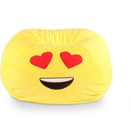GoMoji Durable Polyester Fabric Ergonomic Seating Position Bean Bag Chair with Double-Stitched Seams, Multiple Patterns - Love Yellow