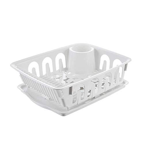 Yxsd Escurridor de platos grande con soporte para cubiertos desmontable, soporte para platos y boquilla de drenaje de agua de 360°, color blanco