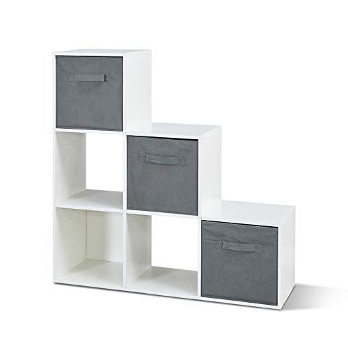 Mondeer Bücherregal, Treppenregal 6 Würfel-Fächer 3 Aufbewahrungsbox, aus Holz Modern für...
