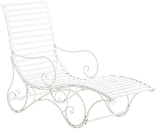 CLP Gartenliege Amiens I Stabile Sonnenliege Aus Eisen I Liege Mit Kunstvollen Verzierungen, Farbe:weiß