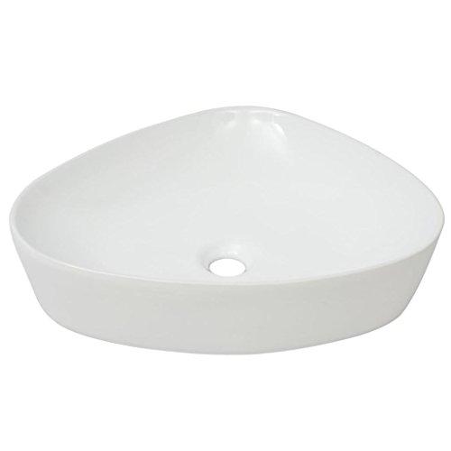 mewmewcat Lavabo Triangular de cerámica Blanco 50,5x41x12 cm