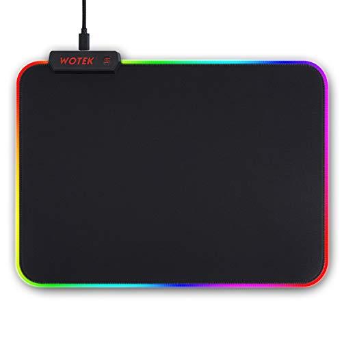 Alfombrilla de Ratón RGB, 7 Colores RGB Alfombrilla Gaming, 14 Modos de Luz LED Mouse Pad (350×250×4mm), Alfombrilla Ratón Gaming Base de Goma Antideslizante y Impermeable para Gamers, PC y Portátil