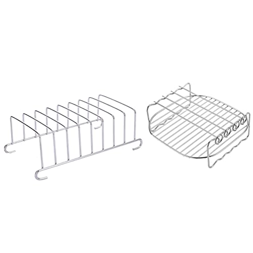 Angoily 2 Piezas Accesorios para Freidora de Aire Y Estantería para Asar Estantería de Refrigeración de Doble Capa Estantería Vaporizadora de Acero Inoxidable para Horno Vaporizador de