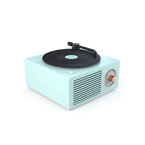 RYSF Music Box Typ Eingebautes Bluetooth Stereo Wireless Vintage Retro Mikrofon Lautsprecher HiFi Aux Unterstützung Tragbarer Plattenspieler Form (Color : Blue)
