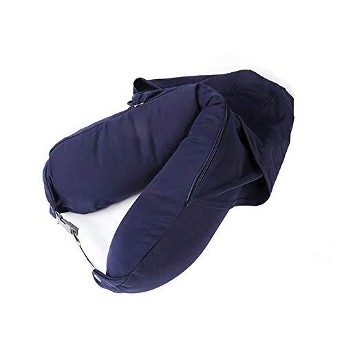 BaiJaC Almohada de Viaje, Almuerzo Break Forma en Forma de U Almohada con Capucha, Cojín de Soporte de Cuello Suave, Adecuado para Oficina, Hogar, Biblioteca, Coche, Volar (Color : Navy Blue)