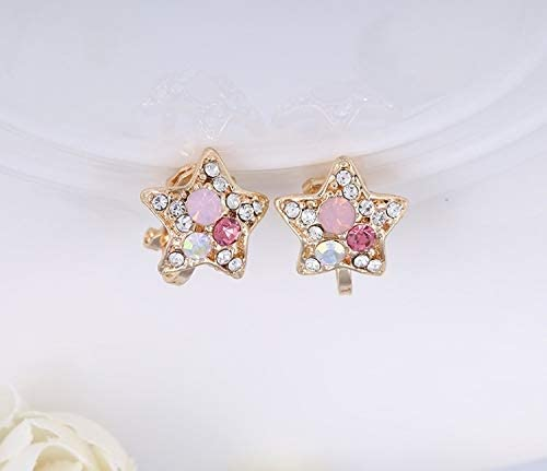 weichuang Colorful Rhinestones Clip Earrings for Women Crystal Gold Ear Clip on Earrings no Hole
