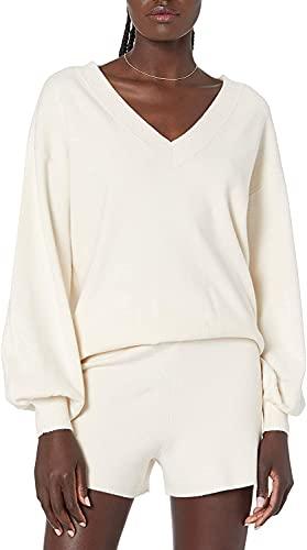 NINGJING Mujeres Y2K Casual de manga larga costilla Top de punto 2 unids Trajes Top+Pantalones Cortos Conjuntos Y2k Verano Streetwear, blanco, L