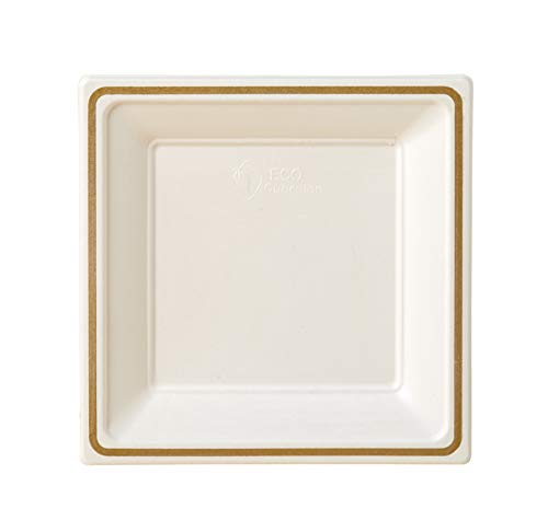 Compostable Printed Rim Plates, 7 Inch, Square Shaped, White with Gold, 144 Pack