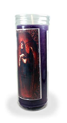 Velón esotérico Santa Muerte Morada- Tamaño 14 x 5,5 cm- Vela para Conseguir Salud