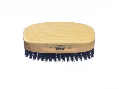 Kent MS23 Finest Men's Rectangular 100% Natural Satinwood & Beechwood Military Hair Brush with Medium Black Bristle for Mens Grooming, Scalp Brush, 360 Wave, and Beard Straightener