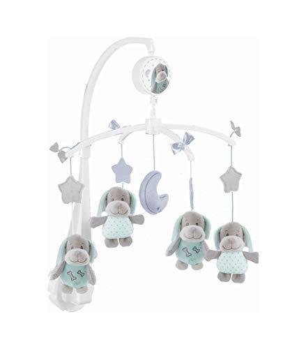 Bieco Musik Mobile Baby, Design: Hündchen Sina | Ø 33cm, Höhe 55 cm | Spieluhr Mobile für Babybett | Einschlafhilfe | Baby Mobile mit Musik | Stoffmobile | Baby Toys 0-6 Months | Melodie LaLeLu