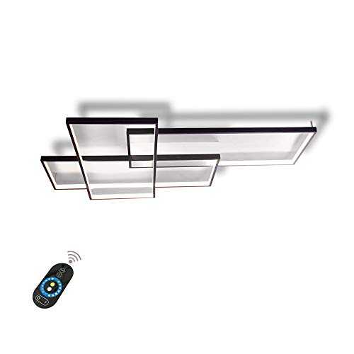 Addison 80W LED Deckenleuchte Moderne Deckenlampe dimmbar mit Fernbedienung, 3 Ring Rechteck Design Decken Licht für Wohnzimmer Schlafzimmer Küche Esszimmer Büro Halle Wandleuchte Beleuchtung, Schwarz
