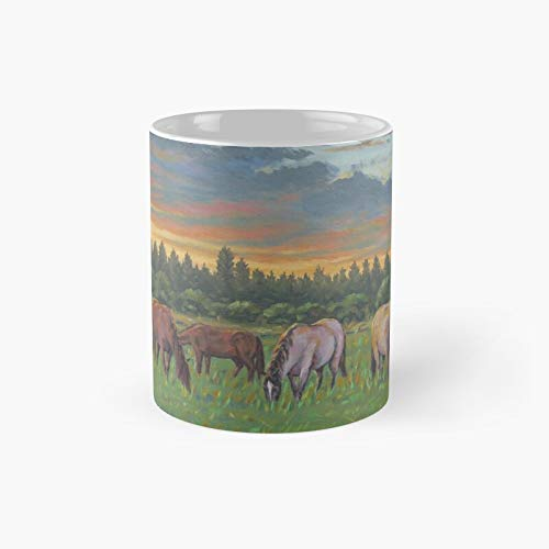 Taza clásica con texto 'Horses In The Sunset Painting' (250 ml)