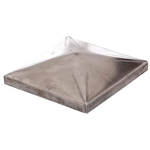 Paalkap voor vierkante metalen palen staal voor het lassen piramide 80 x 80 mm zilver