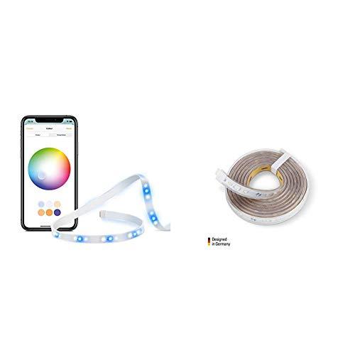 Eve Light Strip - Smarter LED-Lichtstreifen (Deutsche Markenqualität), 2 m, weiß & Farbe (RGB) + Eve Light Strip Erweiterung (2m) - Weiß und Farbe, 1800 Lumen, kürzbar, selbstklebend