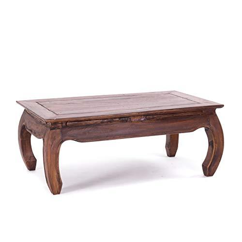 Design OPIUMTISCH East | 100x60x41cm (BxTxH), Mahagoni Recyclingholz | Beistelltisch, Couchtisch aus Vollholz | Farbe: 02 Hellbraun