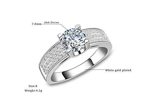 Thumby Europese en Amerikaanse sieraden, in kleur beschermd, drierijige diamant, micro-ingelegd zirkoon ring, vrouwelijk, betrokken, klauwenset, bijwonen Cocktail Party Ring, R137, Aaa zirkoon, wit & platina,