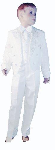 Costume de smoking 5 pièces pour bébé garçon avec dos en queue blanche – Comprend gilet, veste avec queue, pantalon, nœud papillon et chemise (3 mois)