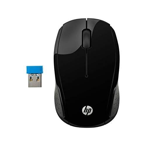 HP - PC 200 Mouse Wireless, Tecnologia LED Rosso, Laser fino a 1000 DPI, 3 Pulsanti, Rotella Scorrimento, Ricevitore USB Wireless 2.4 GHz Incluso, Design Pratico e Confortevole, Ambidestro, Nero