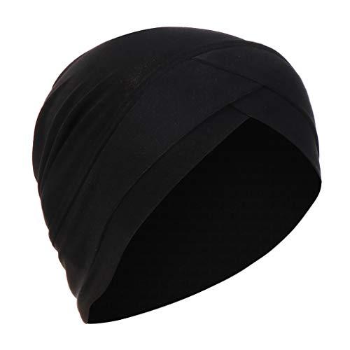 Lazzboy Kopftuch Chemo Cancer Mütze Seide Gefütterte Ethnic Cloth Turban Cap Für Frauen Solid India Hut Muslim Ruffle Beanie Wickelschal(Schwarz)
