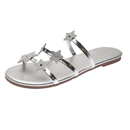 Zapatillas Mujer de Playa Piscina Planas Moda con Diamante de imitación Brillante Sandalias Planas Mujer Bohemia Estilo Zapatillas Mujer casa cómodo Casual con Punta Abierta Zapatos Verano Mujer