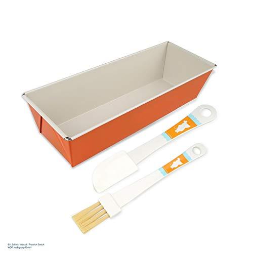 Dr. Oetker Kastenform-Set DieMaus, eckige Backform 30 cm, Pinsel zum Backen, Teigschaber aus Kunststoff, Teigspachtel & Kunststoffpinsel mit Maus-Motiv, hochwertige Kuchenform, Menge: 1 x 3er Set