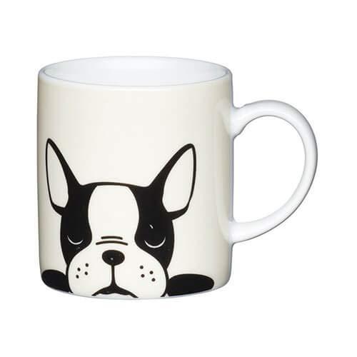 Kitchen Craft Mug Cafe 80Ml Porcelain French Bulldog, White